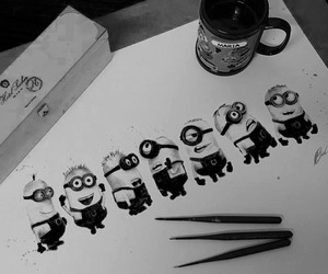 art, black and white, and smile image