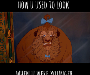 beauty and the beast, belle, and funny image