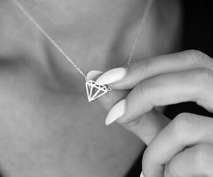 black and white, nails, and necklase image