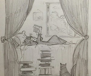 book, art, and cat image