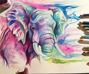 art, elephant, and drawing image