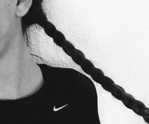 hair, nike, and braid image