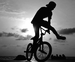 bike, boy, and sunset image