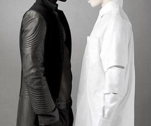 black, white, and model image