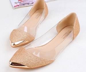 shoes, flats, and gold image