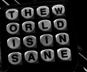 world, insane, and black and white image