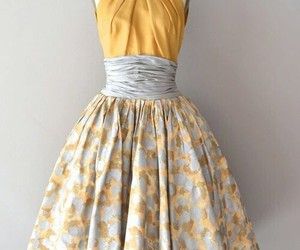 dress, yellow, and vintage image
