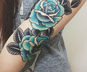 tattoo, blue, and roses image