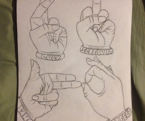 bang, drawings, and fingers crossed image