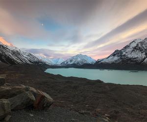 lake, moonrise, and new zealand image