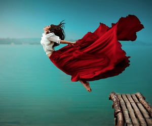 beauty, Flying, and red image