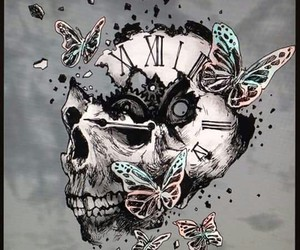 art, butterfly, and skull image