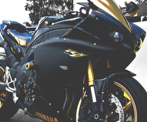 black, gold, and motorcycle image