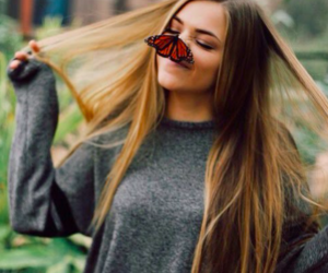 girl, butterfly, and hair image