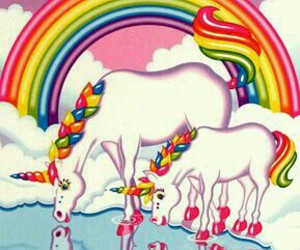 rainbow, unicorn, and lisa frank image