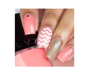 chevron, coral, and gold image