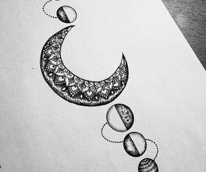 drawing, moon, and draw image