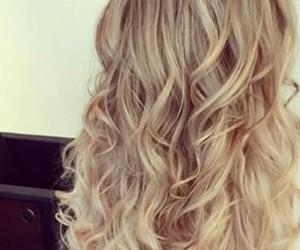 blonde, curls, and dip dye image