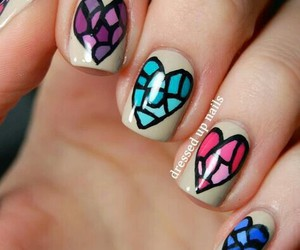 nails, heart, and hearts image