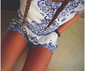 blue, braids, and outfit image