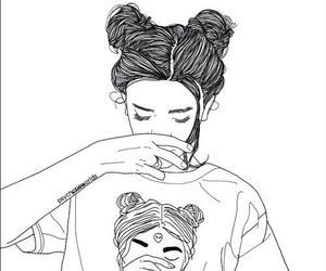 girl, tumblr, and outline image