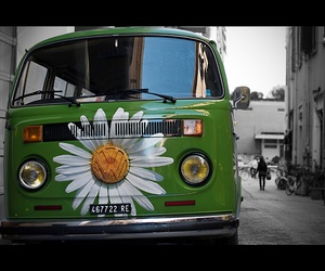 car, hippie, and transporter image