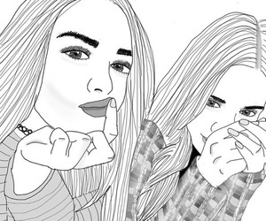 girl, outline, and friends image