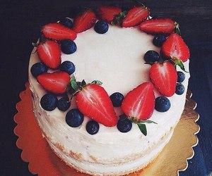 strawberry, blueberry, and cake image