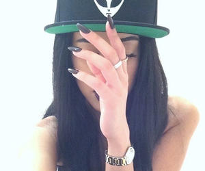 black nails, ufo, and girl sexy swag image