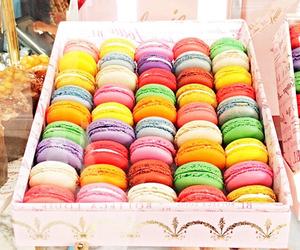 food, colorful, and macarons image