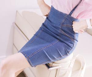 kfashion, denim skirt, and kstyle image