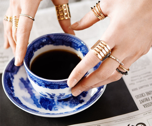 coffee, rings, and gold image