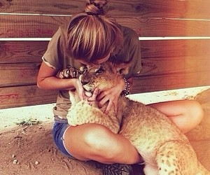 baby lion, girl, and cute image