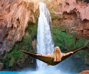 waterfall, nature, and girl image