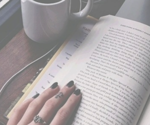 book, coffee, and black image