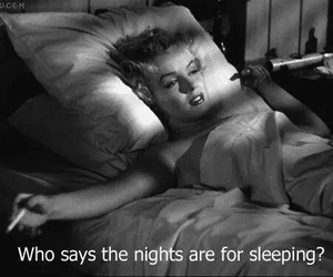 bed, black and white, and sleep image