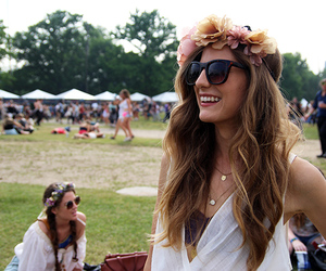 chic, flower crown, and long hair image