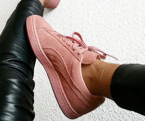 girly, puma suede, and pink image
