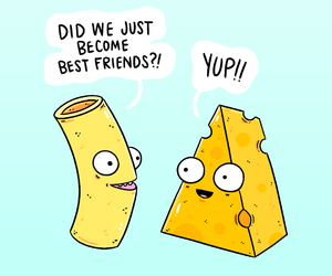 best friends, funny, and mac and cheese image
