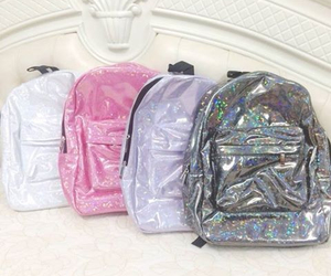 bag, backpack, and pink image