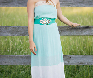crochet, maxi dress, and strapless image