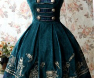 victorian, dress, and green image