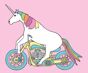 unicorn, pink, and motorcycle image