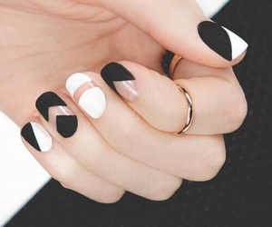 beautiful, black & white, and nail art image