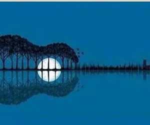 guitar, moon, and music image