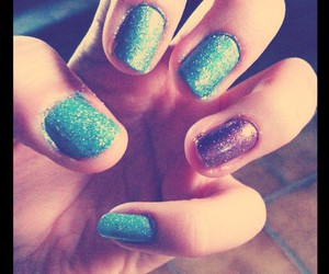 glitters, blue pink, and nails image