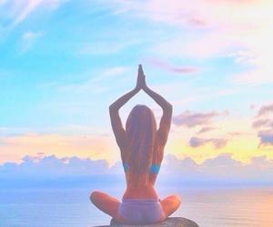 girl, yoga, and summer image