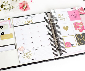 gold, planner, and stickers image