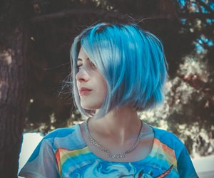 blue hair, girl, and rainbow image
