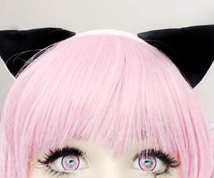 cute, girl, and pink eyes image